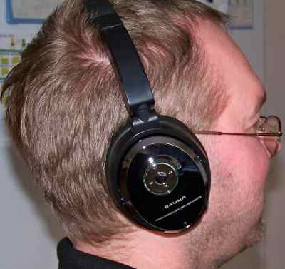 Me wearing Bauhn Headphones