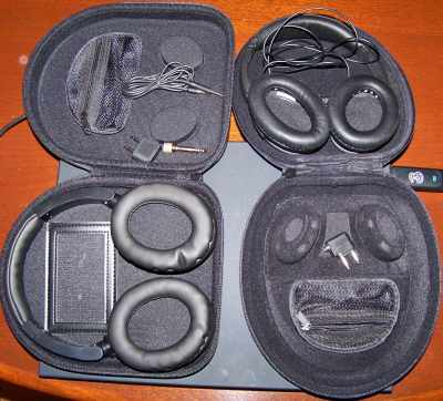 Inside the case of Bauhn Noise Canceling Headphones showing the cable and connectors