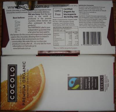 PIcture of Cocolo chocolate packaging
