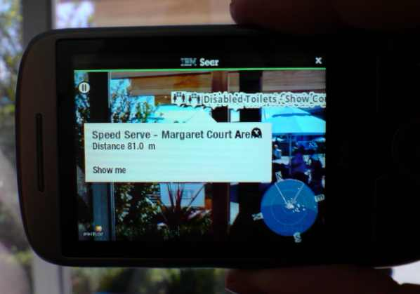 picture of IBM Seer software running on HTC Hero