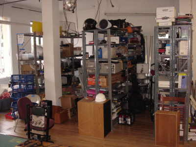 Shelves full of random spare parts