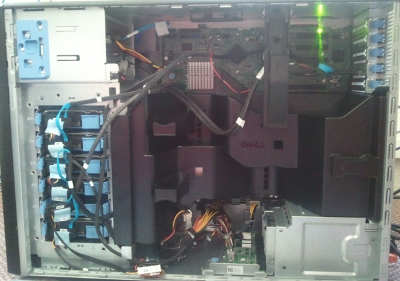 View of the open side of a PowerEdge T410