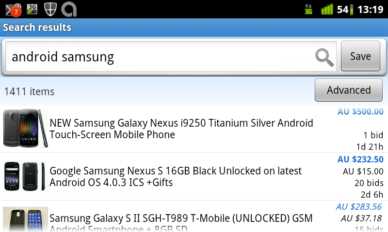 Official EBay app searching for Samsung Android phones