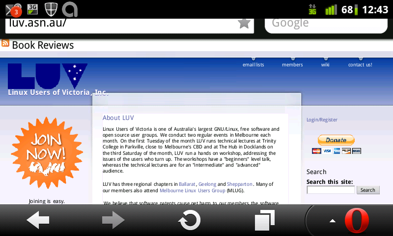 screen-shot of LUV web site