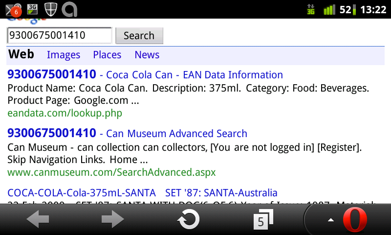 Google search on Coke can barcode