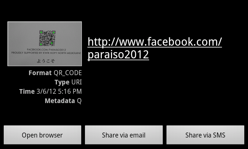 QR Code lookup of Facebook page