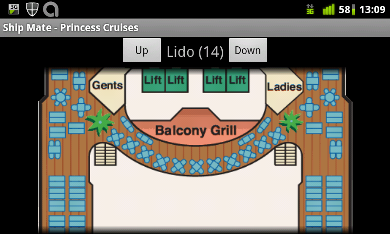 Shipmate map of Dawn Princess