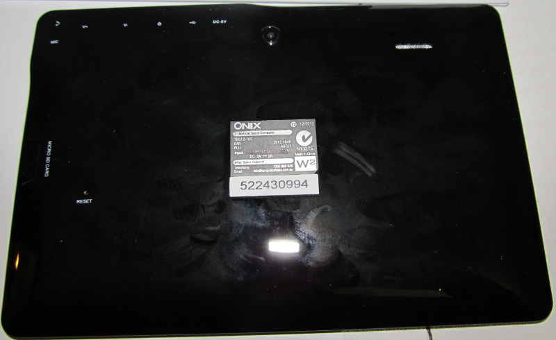 back of the onix 7 inch tablet
