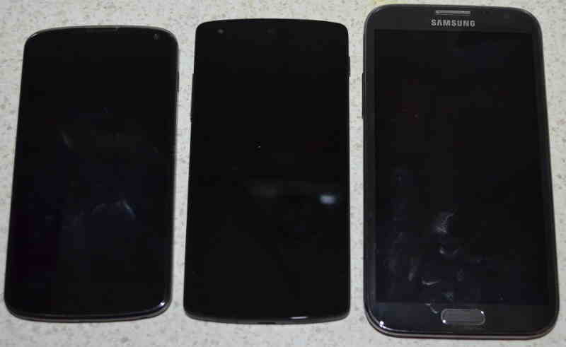 front of Nexus 4, Nexus 5, and Samsung Galaxy Note 2