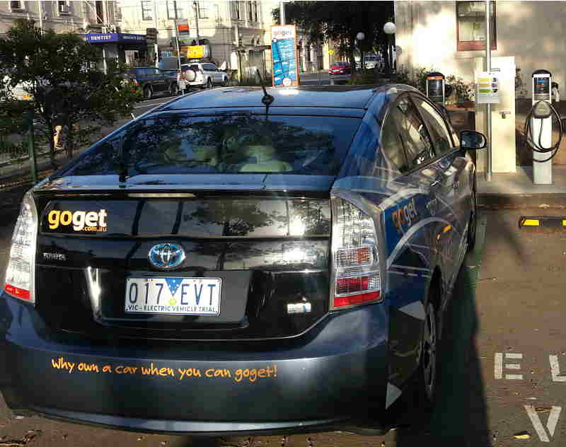 GoGet plug-in Prius charging